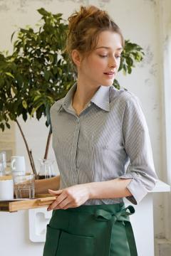 【4色】ストライプシャツ(レディース・7分袖)