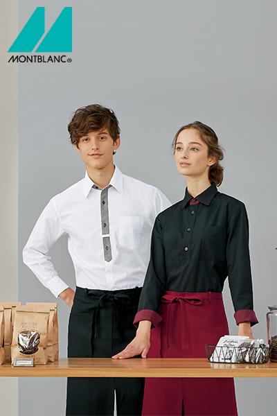 ネクタイ風配色シャツ(男女兼用・長袖)