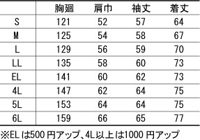 【全6色】防寒ブルゾン(帯電防止・撥水性) サイズ詳細