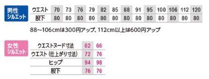 ノータックカーゴパンツ 男女兼用(ユニセックス) サイズ詳細
