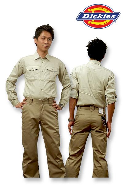 【Dickiesディッキーズ】長袖ロールアップシャツ