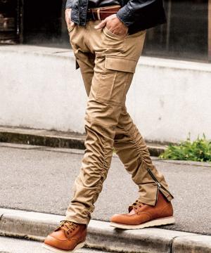 【G・GARGO】クロスオーバーストレッチ裾ジッパーカーゴパンツ