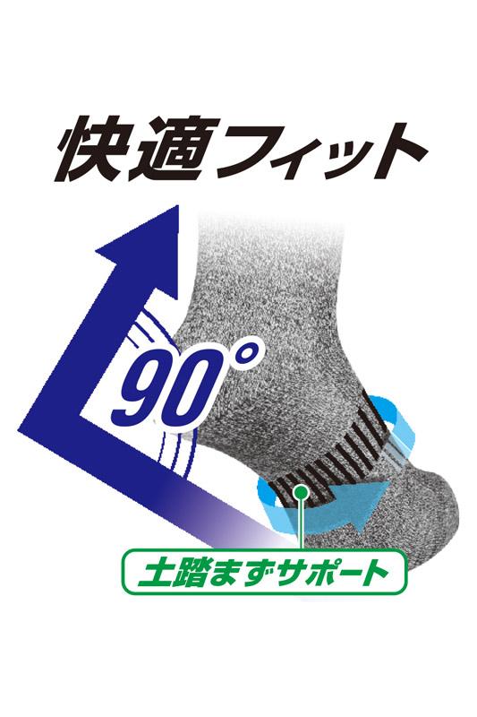 【ニオイクリアEX】90°クルー5本指ソックス2P(消臭)