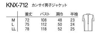 【ナガイレーベン】Kansai ジャケット白衣 サイズ詳細