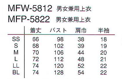 【ミッフィー】スクラブ白衣(男女兼用) サイズ詳細