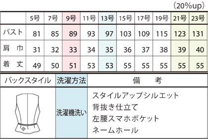 【2色】ベスト(プロヴァンスチェック) サイズ詳細