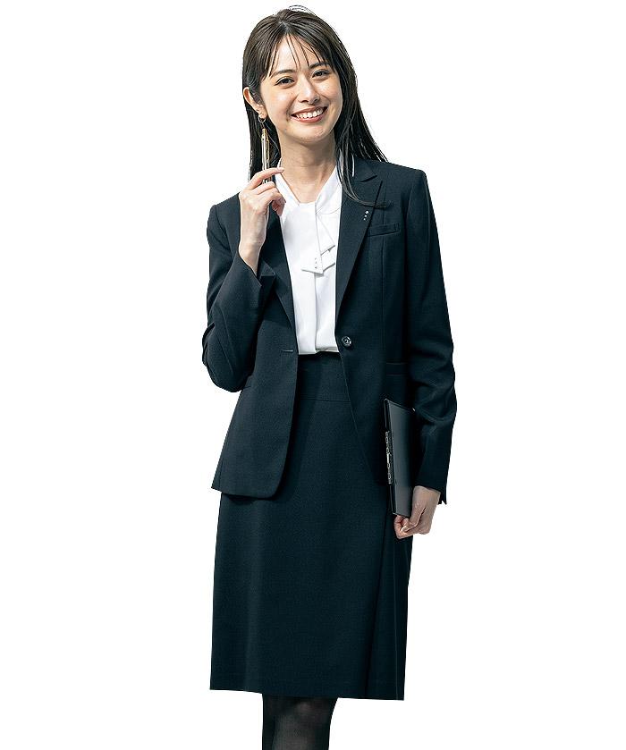 フロントプリーツ入りタイトスカート(ストレッチ)(58cm丈/9号)