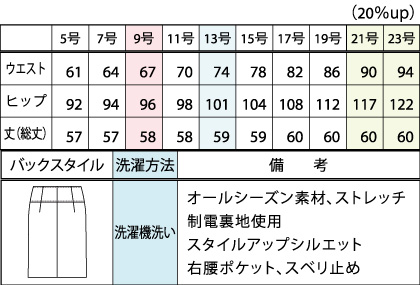 フロントプリーツ入りタイトスカート(ストレッチ)(58cm丈/9号) サイズ詳細