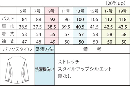 【PATRICK COX】ジャケット(八分袖) サイズ詳細