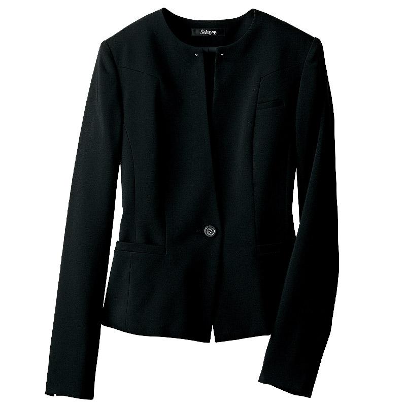 ノーカラージャケット(胸元にブラックラインストーン付)