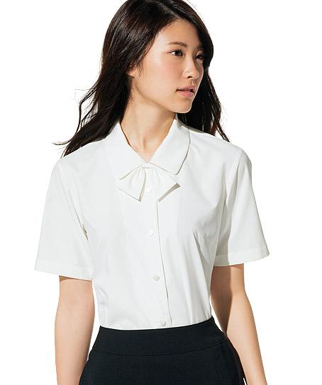 【2色】半袖ブラウスリボン付(UV素材)