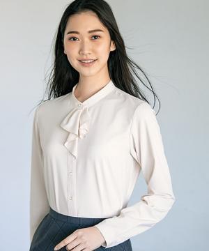 【3色】長袖ブラウス(パウダリータフタ)