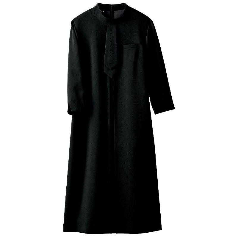 ワンピース(ブラックラインストーン付/七分袖)