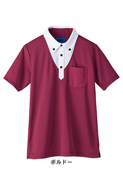 【TioTio】【全4色】重ね着風ボタンダウンポロシャツ(男女兼用)