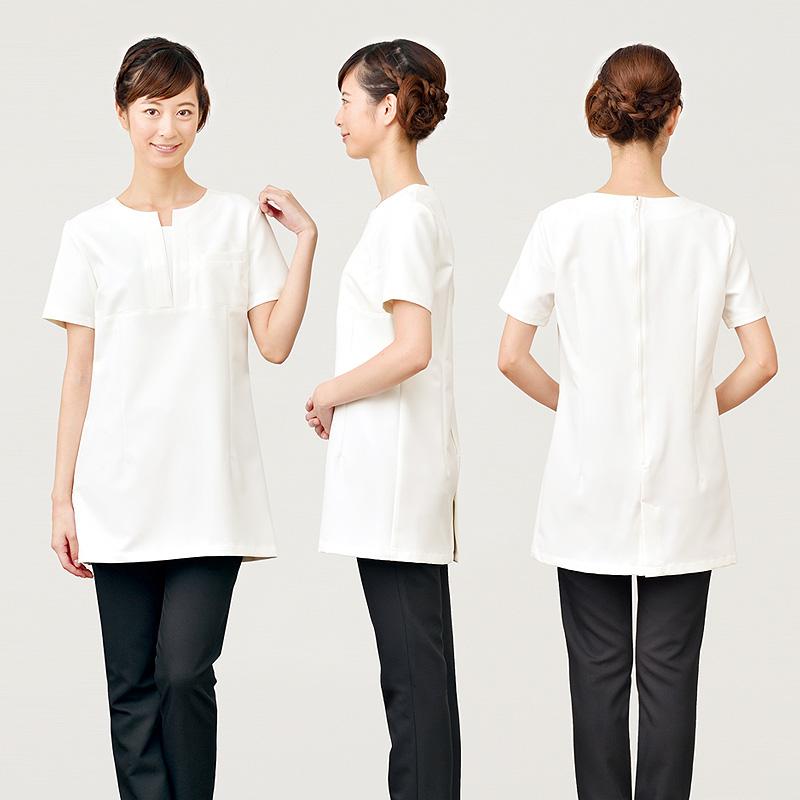 【2色】V開き衿チュニック(セオアルファストレッチ素材)