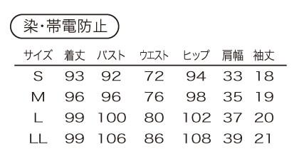 【2色】ワンピース(染・帯電防止) サイズ詳細