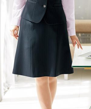 【2色】美形セミフレアスカート(美ストレッチシリーズ・クールストライプ)