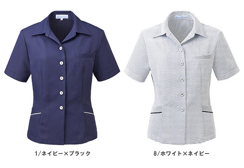 【全2色】オーバーブラウス(クールビズボーダー)