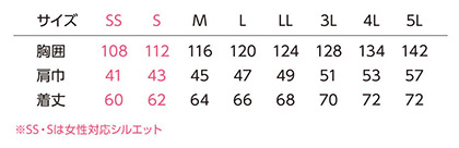 【ディッキーズ×空調風神服】エアーマッスルバックチタンベストセット 2020年型 サイズ詳細