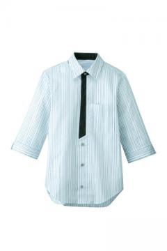 ユニフォームや制服・事務服・作業服・白衣通販の【ユニデポ】七分袖シャツ(ストライプ)