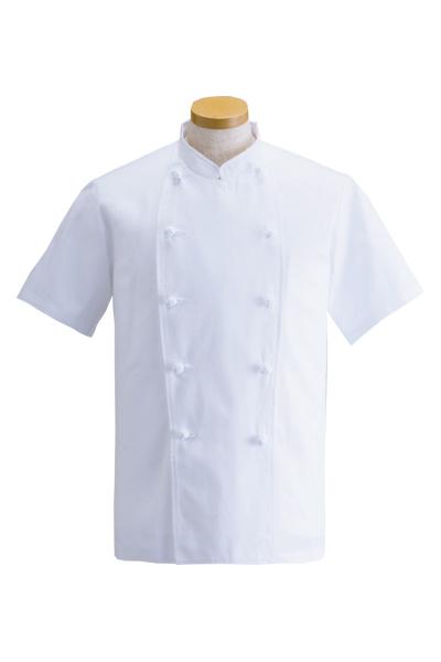 綿100%カツラギ半袖コックコート(吸汗速乾)☆