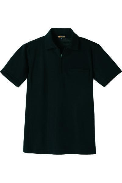 ジップアップ半袖ポロ(ドライ・UVカット)
