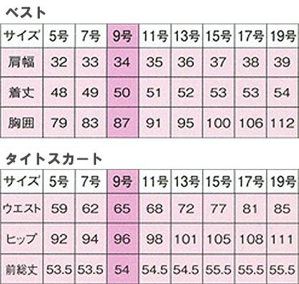 ベスト+スカート上下セット(FV36012・FS45812) サイズ詳細