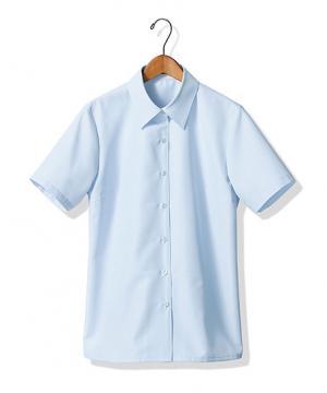 【全4色】半袖ブラウス(台襟付きシャツカラー)