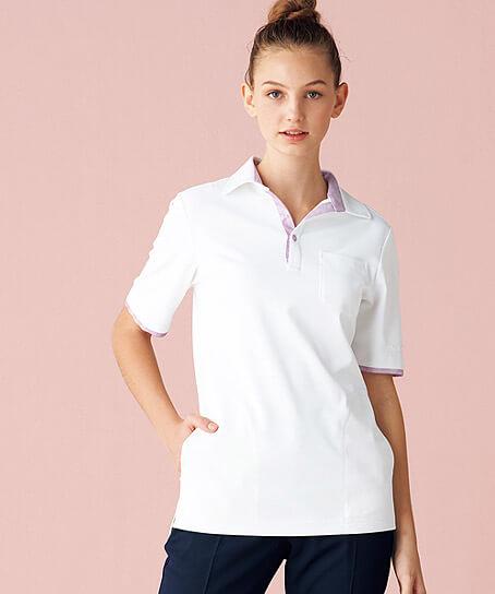 【MICHEL KLEIN】ミッシェルクラン 花柄配色のニットシャツ(女)