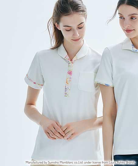 【LAURA ASHLEY】レディスニットシャツ(半袖)