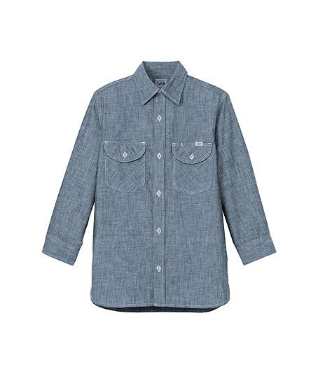【Lee】メンズシャンブレー七分袖シャツ