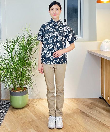【4色】ボタンダウンアロハシャツ(ハワイの夜)