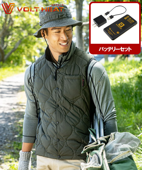 【ボルトヒート】GLADIATOR クルーネック電熱ベスト+バッテリーセット